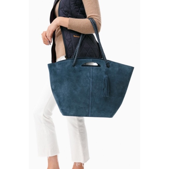 f85fa13a3a70 NWT Neely   Chloe Suede Market Tote in Navy